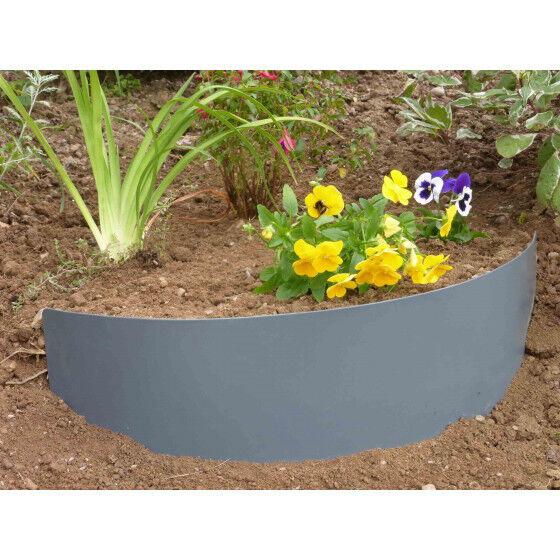 Jardin et Saisons Bordure de jardin demi-lune en acier gris anthracite pour talus