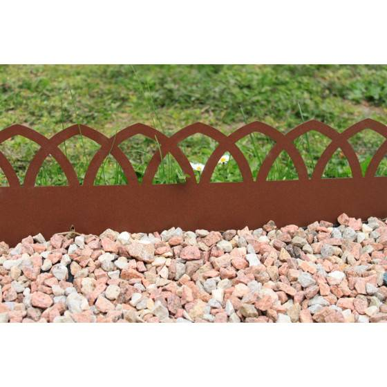 Jardin et Saisons Bordure de jardin en acier fer vieilli arcade H 18 cm