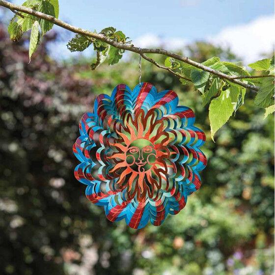 Jardin et Saisons Mobile à vent en métal décor soleil diamètre 30 cm