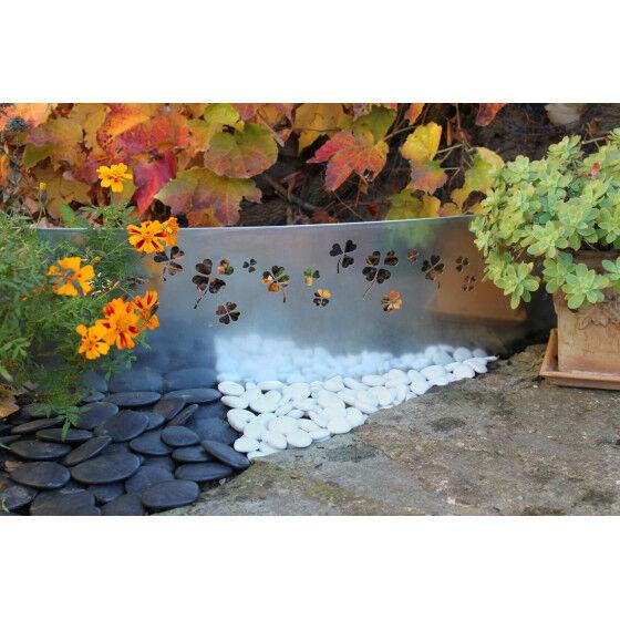 Jardin et Saisons Bordure de jardin en acier galvanisé brut trèfle H 25 cm