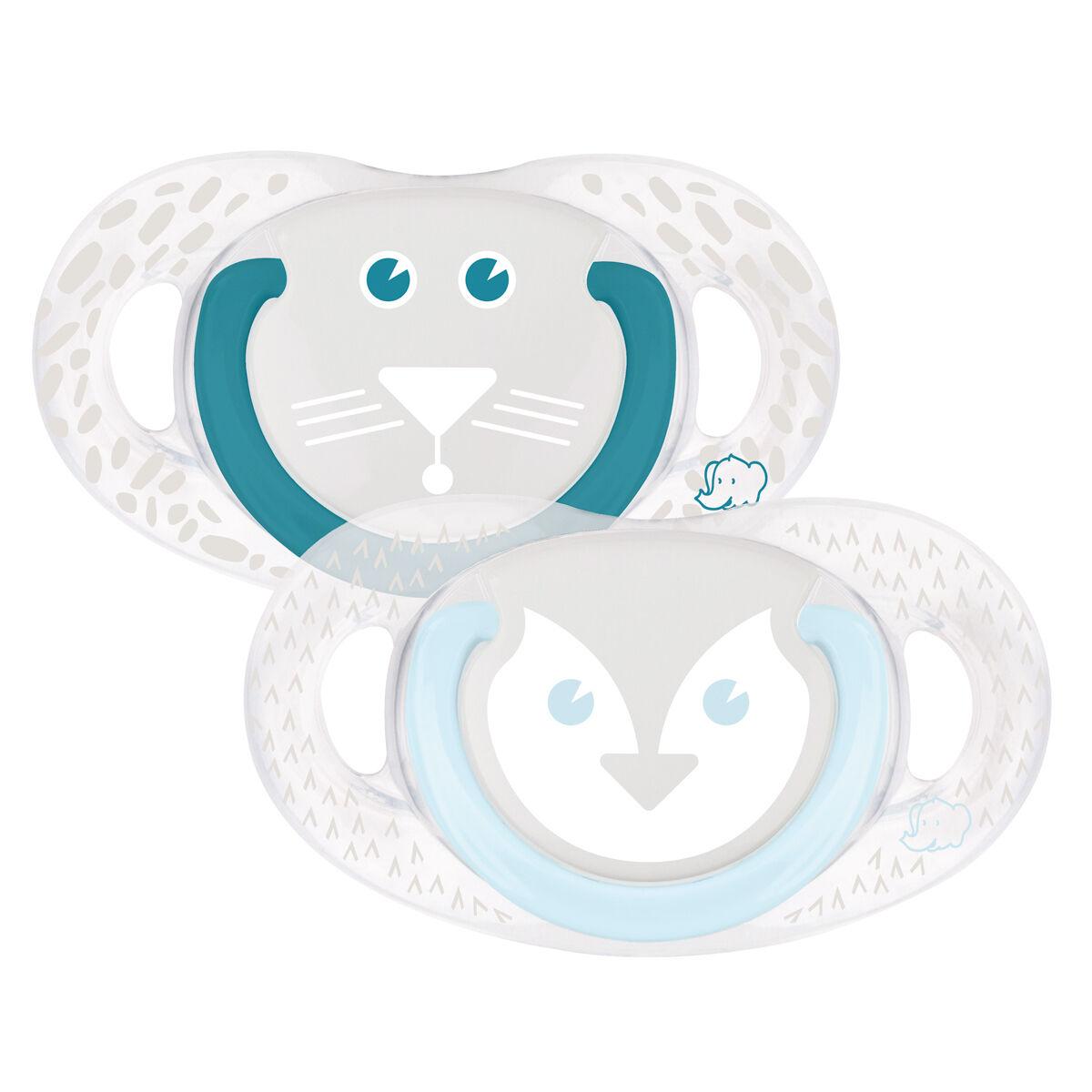 Bébé Confort Lot de 2 Sucettes Natural Physio Pingouin et Tigre - 6/18 Mois