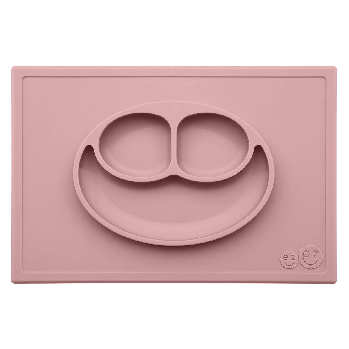 ezpz Set de Table et Assiette Tout-en-1 Irrenversable Happy Mat - Rose Poudré