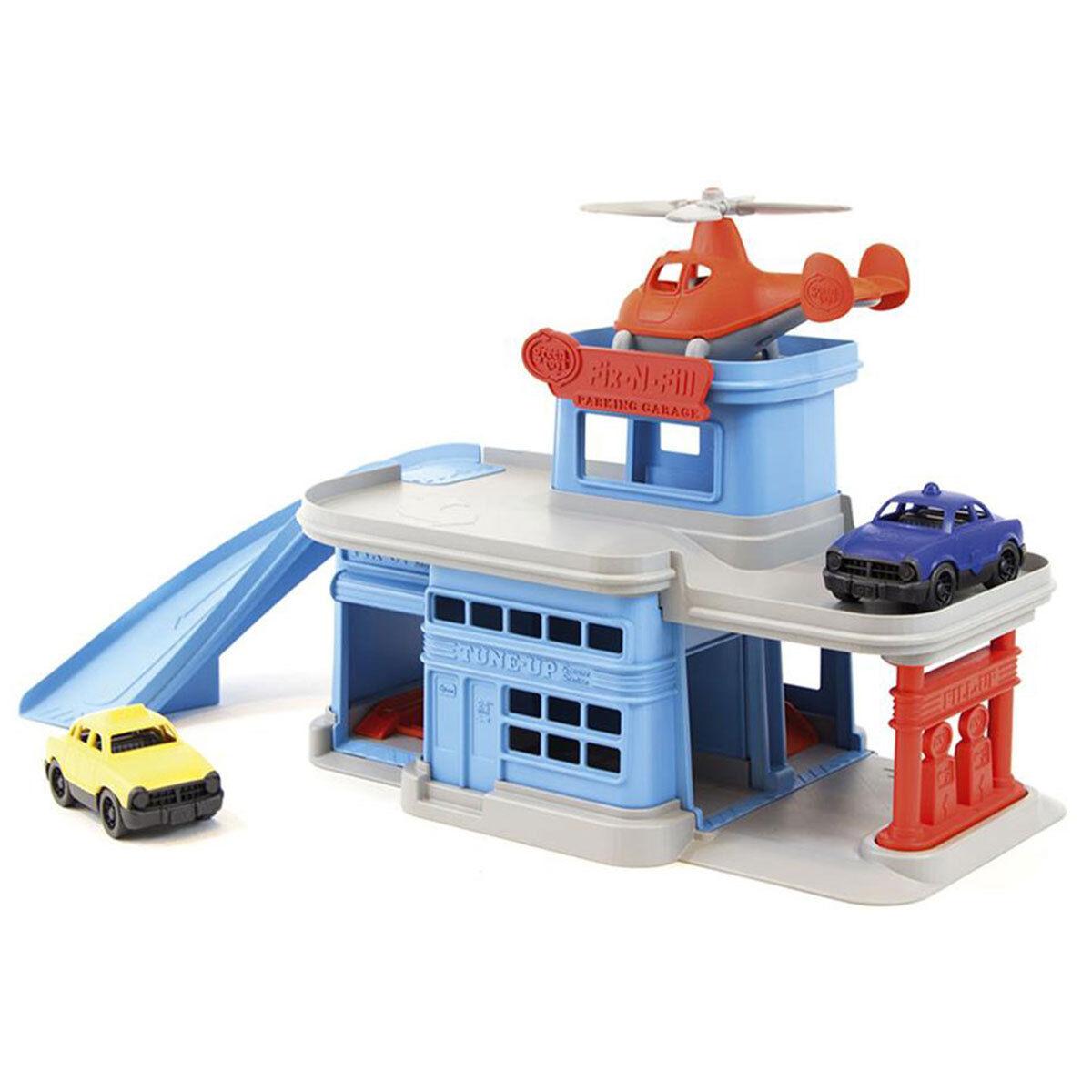 Green Toys Garage Hélicoptère et ses 2 véhicules