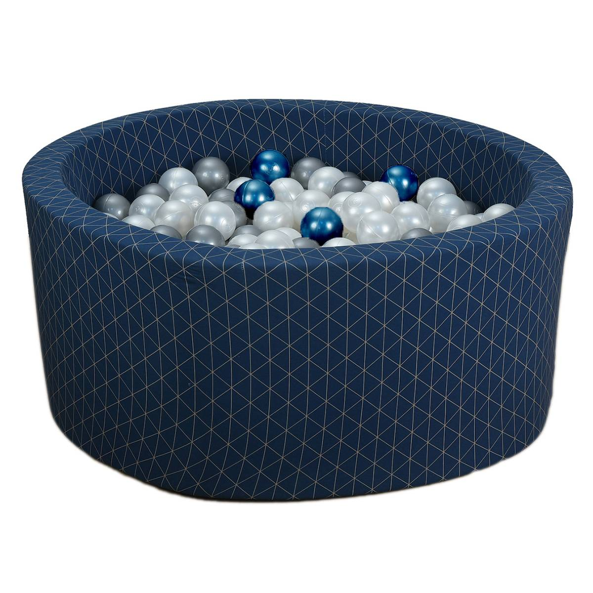 Misioo Piscine à Balles Ronde Graphic Chic & Midnight Blue 90 x 40 cm + 200 Balles