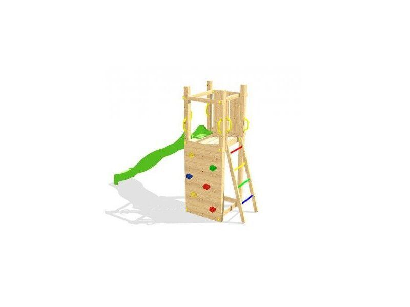 Chalet & Jardin Aire de jeux en bois ZEBULON - Mur d'escalade + Toboggan + Echelle d'accès