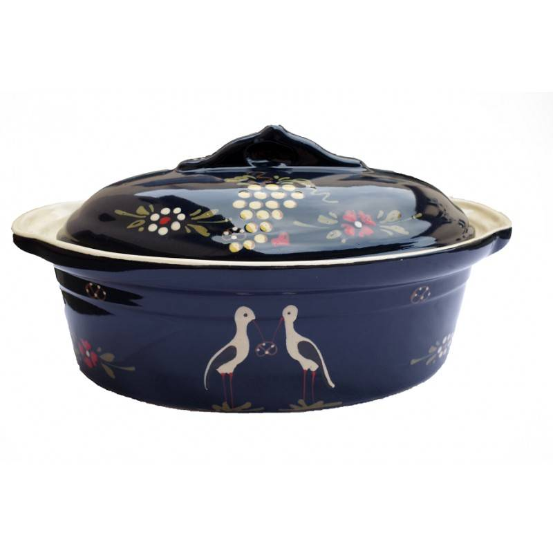 poterie Siegfried Burger Soufflenheim Terrine cigogne bleu 7 tailles disponibles