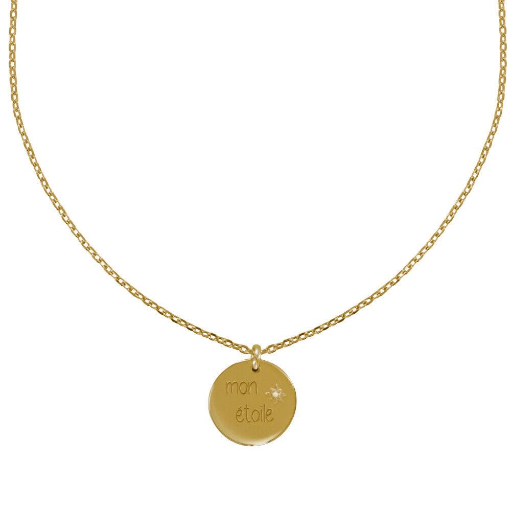 Les Poulettes Bijoux Collier Plaqué Or Médaille Ronde Gravée Mon Etoile