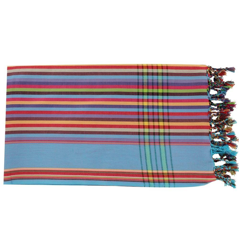 Les Poulettes Bijoux Kikoy Paréo Coton Multicolore Bordure Bleue