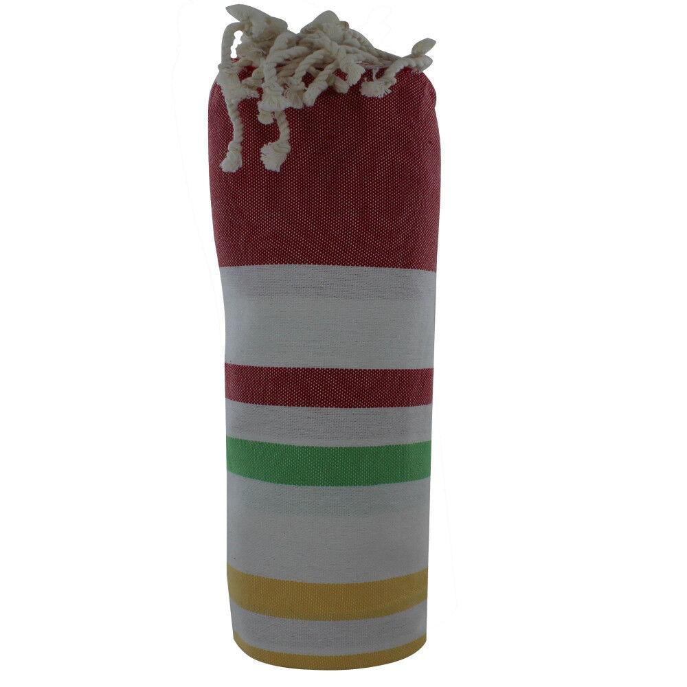 Les Poulettes Bijoux Fouta Drap Plage et Hammam Coton Multiples Rayures Multicolores