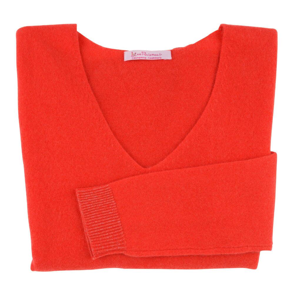 Les Poulettes Bijoux Pull Femme 100% Cachemire Oversize Classics Rouge Corail