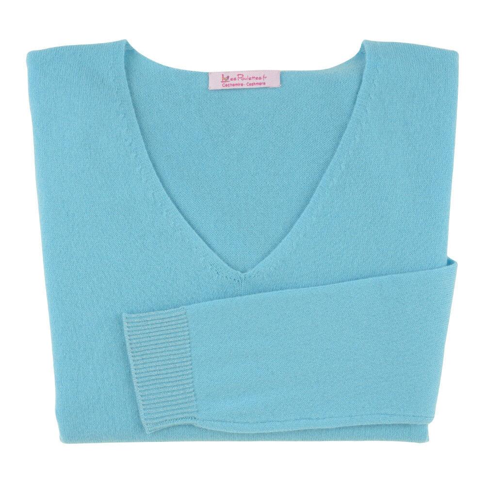 Les Poulettes Bijoux Pull Femme 100% Cachemire Oversize Turquoise