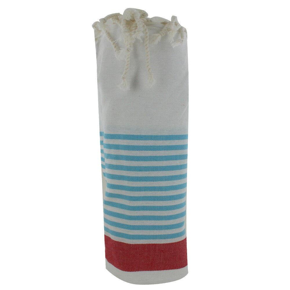 Les Poulettes Bijoux Fouta Drap Plage et Hammam Coton Couleur Blanc Bande Rouge Petites Rayures Turquoises 100 x 200cm