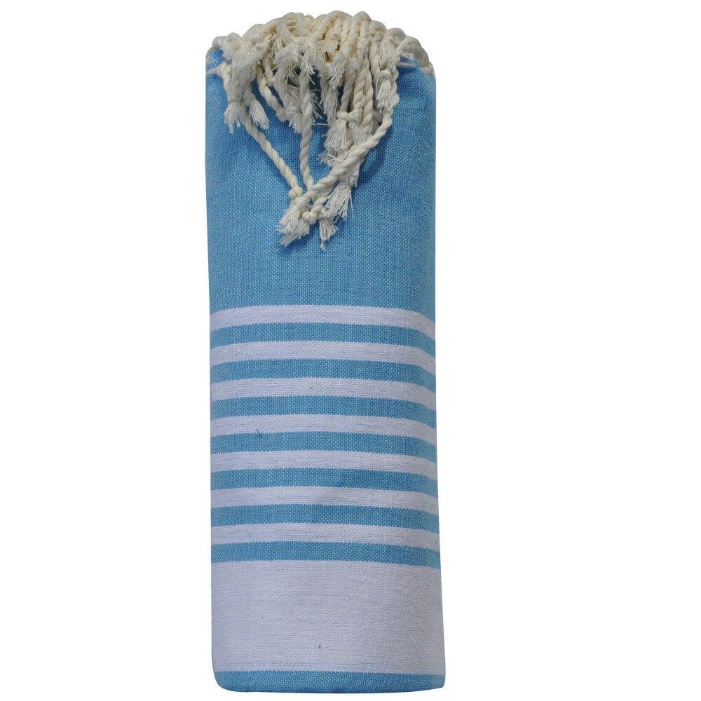 Les Poulettes Bijoux Fouta Drap Plage et Hammam Coton Turquoise Bande et Petites Rayures Blanches 100 x 200cm