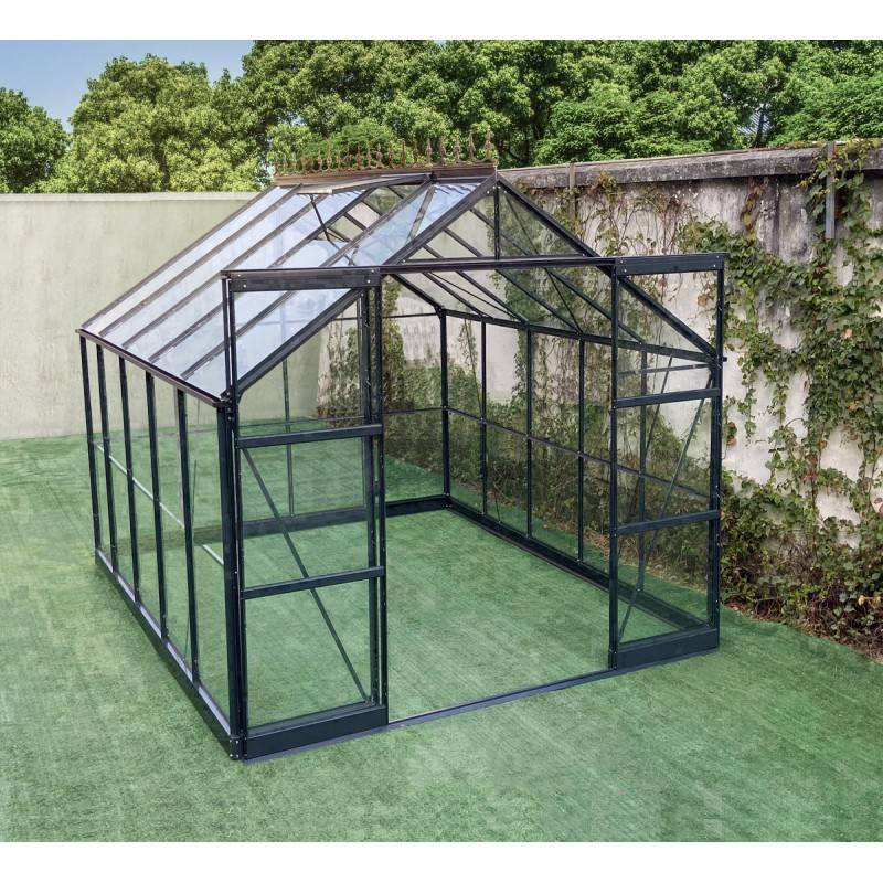 Green Protect Serre de jardin Prima 7,42m² en aluminium anthracite et verre trempé 4mm - Green Protect
