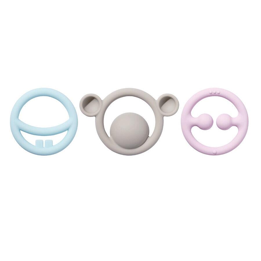 MOLUK Set de 3 anneaux de dentition tactiles Pastel NIGI, NAGI & NOGI - MOLUK