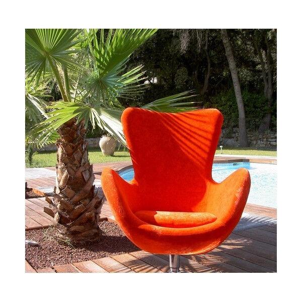 MATHI DESIGN COCOON - Fauteuil design en velours moiré orange Orange