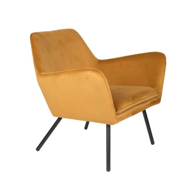 MATHI DESIGN ALABAMA - Fauteuil de salon confortable en velours jaune or Or