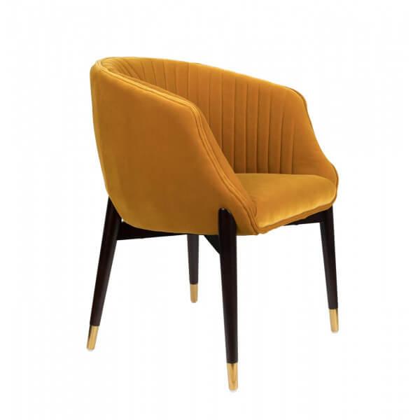 Dutchbone DOLLY - Chaise confortable velours Jaune Jaune