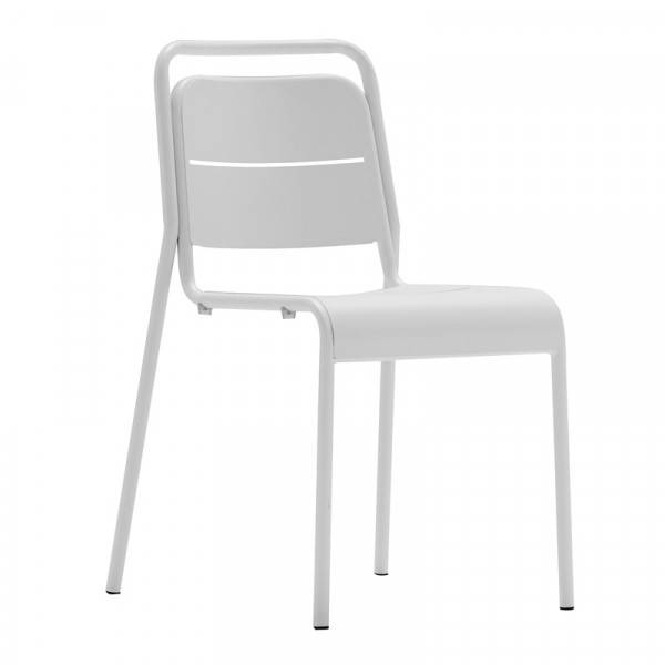 MATHI DESIGN MALAGA - Chaise de terrasse acier blanc Blanc