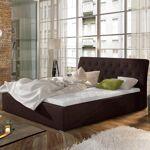 Lit coffre sommier relevable design Milano - Couleurs - Tissu Marron,... par LeGuide.com Publicité