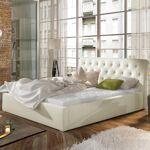 Lit coffre sommier relevable design Milano - Couleurs - PU Beige, Tailles... par LeGuide.com Publicité