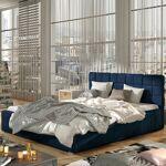 Lit coffre sommier relevable design GRAND - Couleurs - Tissu Bleu, Tailles... par LeGuide.com Publicité