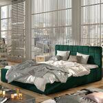 Lit coffre sommier relevable design GRAND - Couleurs - Tissu vert , Tailles... par LeGuide.com Publicité