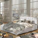 Lit coffre sommier relevable design GRAND - Couleurs - PU Blanc, Tailles... par LeGuide.com Publicité