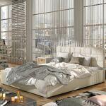 Lit coffre sommier relevable design GRAND - Couleurs - PU Beige, Tailles... par LeGuide.com Publicité