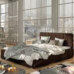 Lit coffre sommier relevable design GRAND - Couleurs - PU Marron, Tailles... par LeGuide.com Publicité