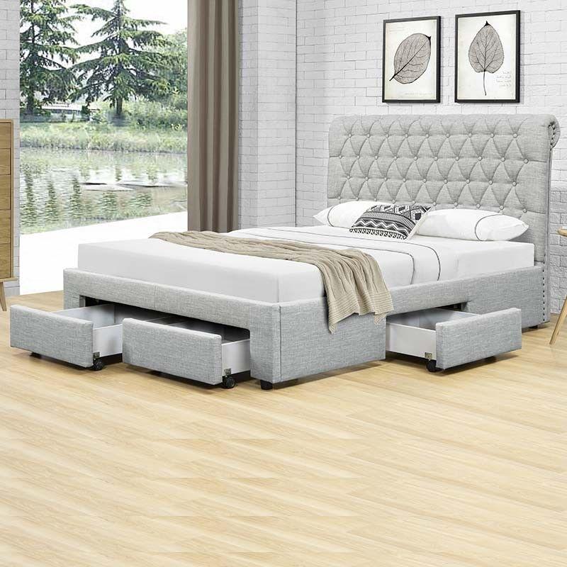 Lit design avec tiroirs HYDE - Couleurs - Gris, Tailles - 140x190