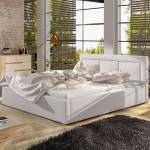 Lit coffre sommier relevable design BELLUNO - Couleurs - PU Blanc, Tailles... par LeGuide.com Publicité