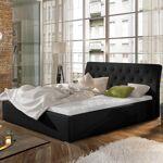 Lit coffre sommier relevable design Milano - Couleurs - PU Noir, Tailles... par LeGuide.com Publicité