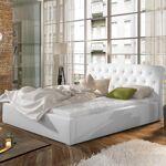 Lit coffre sommier relevable design Milano - Couleurs - PU Blanc, Tailles... par LeGuide.com Publicité