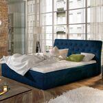 Lit coffre sommier relevable design Milano - Couleurs - Tissu Bleu, Tailles... par LeGuide.com Publicité