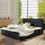 Lit coffre sommier relevable design LATINA - Couleurs - PU Noir, Tailles... par LeGuide.com Publicité