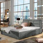 Lit coffre sommier relevable design ROSANO - Couleurs - Tissu Gris foncé,... par LeGuide.com Publicité
