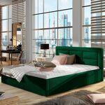 Lit coffre sommier relevable design ROSANO - Couleurs - Tissu vert ,... par LeGuide.com Publicité