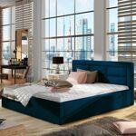 Lit coffre sommier relevable design ROSANO - Couleurs - Tissu Bleu, Tailles... par LeGuide.com Publicité