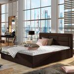 Lit coffre sommier relevable design ROSANO - Couleurs - PU Marron, Tailles... par LeGuide.com Publicité