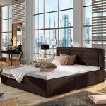 Lit coffre sommier relevable design ROSANO - Couleurs - Tissu Marron,... par LeGuide.com Publicité