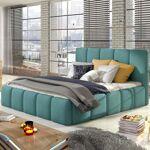 Lit coffre sommier relevable design EDVIGE - Couleurs - Tissu Turquoise... par LeGuide.com Publicité