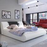 Lit coffre sommier relevable design FLAVIO - Couleurs - PU Blanc/Noir,... par LeGuide.com Publicité