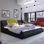 Lit coffre sommier relevable design FLAVIO - Couleurs - PU Noir / Tissu... par LeGuide.com Publicité