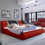 Lit coffre sommier relevable design FLAVIO - Couleurs - PU Rouge /Noir... par LeGuide.com Publicité