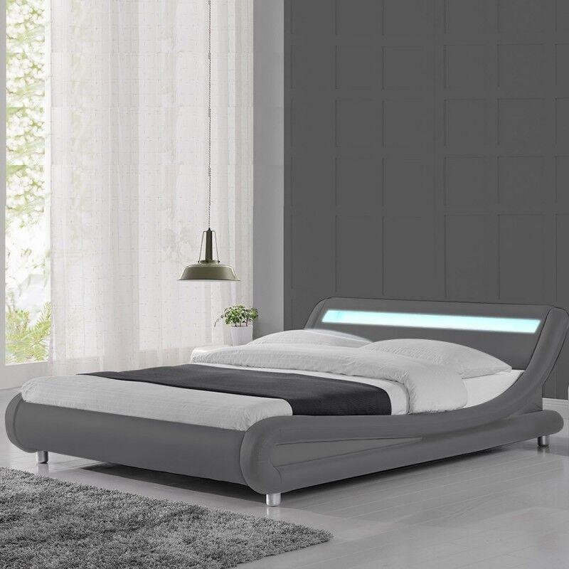 Lit led design Julio - Couleurs - Gris, Tailles - 160x200