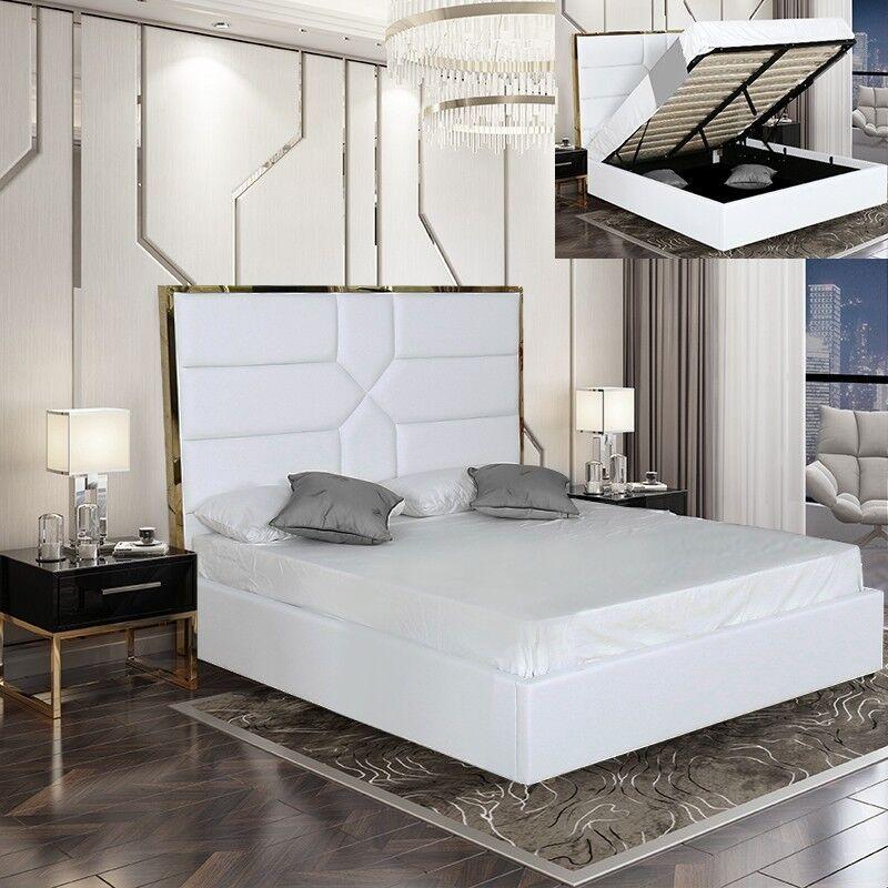 Lit coffre design effet laiton Dalia - Couleurs - Blanc, Tailles - 180x200