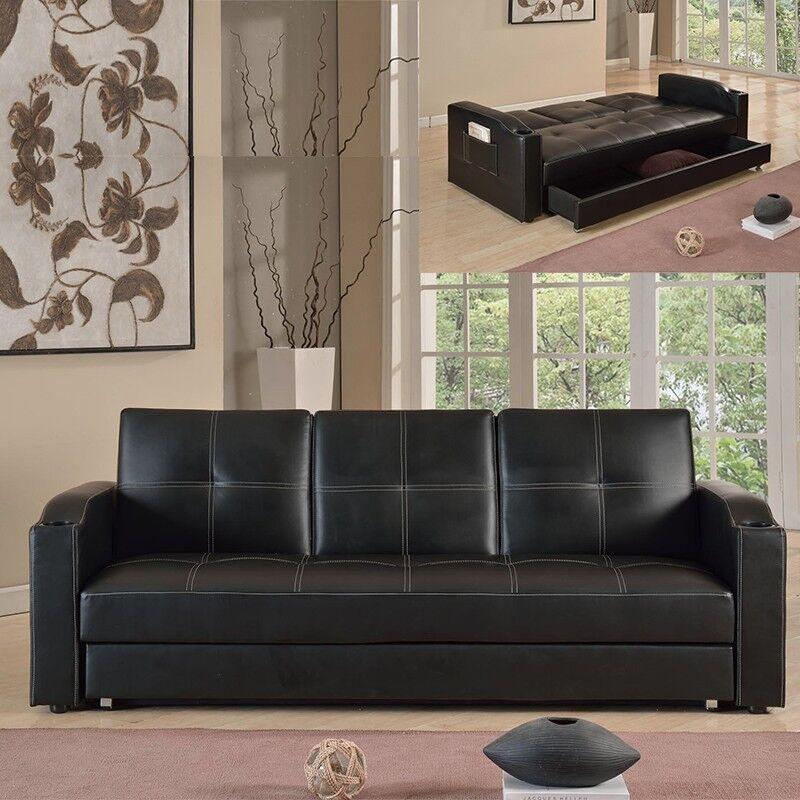 Canapé 3 places clic-clac avec tablette centrale rabattable coffre Corabar