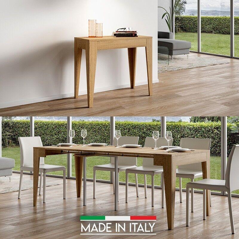 Table Console extensible Isotta - Couleurs - Chêne Nature, Nombre d'extensions - 3 Rallonges