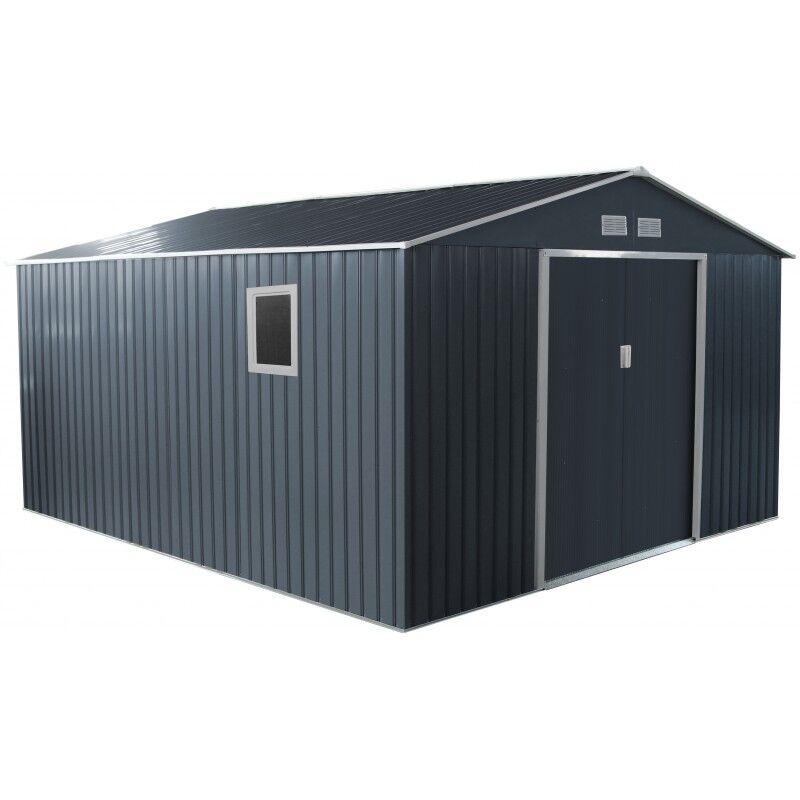 X-Metal Abri de jardin métal 13m² PLUS anthracite + kit d'ancrage X-METAL